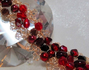 Lacy Red Beaded Bracelet, handmade wire crochet bead jewelry, romantic red bracelet