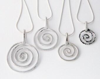 Metal jewelry, silver jewelry- medium silver spiral necklace, swirls necklace