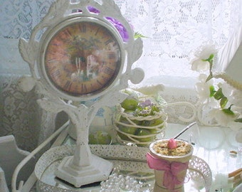 Vintage Pedestal Clock Wrought Iron Painted Shabby Romantic Cottage Chic