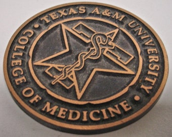 Texas A & M Aggie University College Of Medicine Bronze Paperweight