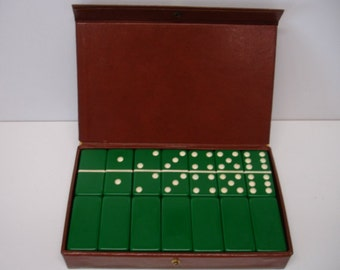 Vintage Set of 28 Dark Green Dominoes in Vinyl Case Extra Thick
