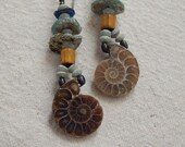 Ancient Roman Glass Ammonite Fossil African Trade Beads Earrings