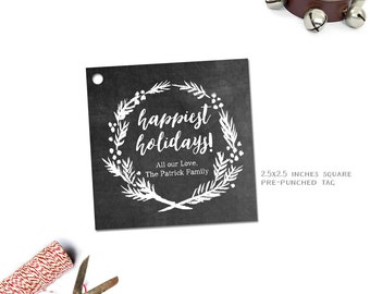 Chalkboard Holiday Gift Tag--Monogrammed or Personalized Xmas Gift Tags