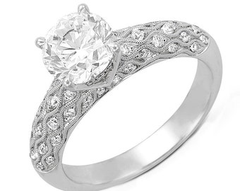 GIA Certified 3.25 ctw Round Diamond Engagement Ring Antique Style in 18k Gold