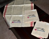 Vintage look embroidered greyhound dish towels