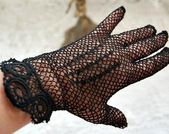 Vintage French, black crochet gloves, Edwardian gloves, steampunk gloves, Goth gloves, vintage gloves, evening gloves, ladies gloves