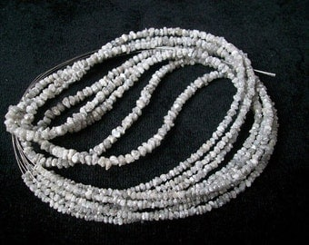 SALE/Natural White Rough Diamonds- Top quality / 2 - 3 mm/ 15 inch strand
