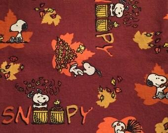 Half Yard Snoopy Peanuts Fall Fun Leaves Charlie Brown Thanksgiving Woodstock