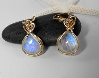 Rainbow Moonstone Earrings, Moonstone Briolettes, Wedding, Bridal, Gold Lever Back Ear Wires, Mystical Moon Designs, Blue Flash Moonstones