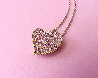 Lovely Necklace with Pink Jeweled heart