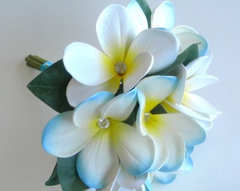 Choose Your Colors Flower Girl/ Petite Bridesmaid Bouquet/ Toss Bouquet  Real Touch Plumeria Shown in Blue & White