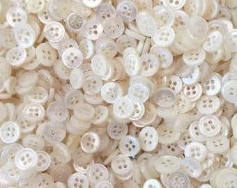"""100 Round Vintage Mother of Pearl Buttons, Small sizes 1/4"""" to 1/2"""", 2 hole and 4 hole buttons, with gift wrap"""