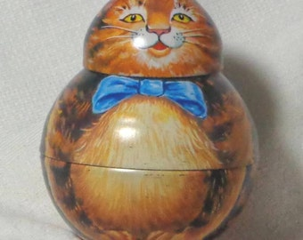 Vintage Collectible Tin ROLY POLY Cat, 1982, Tobacco Tin, Segmented