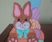 Bunny, eggs, Easter, shelf sitter, handpainted, Easter bunny