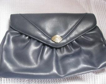 Vintage, Clutch, 60's era, purse, handbag, navy blue
