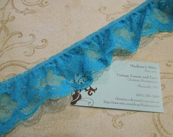 1 yard of 2 1/4 inch Teal Blue Ruffled Chantilly lace trim for bridal, baby, lingerie, garter, home decor by MarlenesAttic - Item 8J