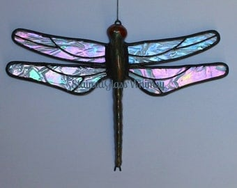 Stained Glass DRAGONFLY Suncatcher, Northern Lights Clear Rainbow Iridescent Wings, Hand-Cast Metal Body, USA Handmade, Iridescent Firefly