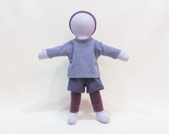 """The Little purple doll, 11"""" soft hemp cloth doll, monocromatic purple doll, Environmentally friendly toy, baby safe and machine washable"""