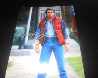 Michael J Fox hand signed 8x10 photo Back To The Future autograph 80s movie red vest