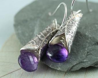 Amethyst Drop Earrings - Faceted Purple Gemstones Wrapped in Silver