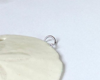 Nose Ring - Simple CLEAR Crystal Nose Screw - L-Shaped Nose Pin - 18 Gauge 2mm 316L Stainless Steel Nose Ring - Tiny Nose Jewelry