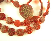"""32"""" strand 'Hajj' beads semi-translucent ruby red pressed glass African trade"""