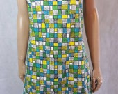 60s Vintage Geometric Squares Print Shift/Scooter Dress.