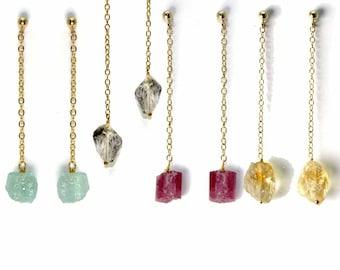 Raw Gemstone Nugget Earrings. You Choose Gemstone. Rough Citrine, Tourmaline nuggets, Herkimer Diamond Earrings. E-1923