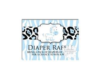 Zebra Diaper Raffle Tickets-Safari Theme Raffle Ticket-Baby Shower Games-INSTANT DOWNLOAD