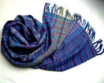 Unique Handwoven  Wrap / Shawl, Shades of Blue, Magenta  and Green