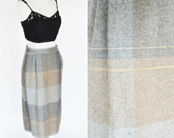 Vintage 1980's Grey And Brown Plaid A-line Midi Skirt- Mid to Short Length High Waist Skirt- ladies Size Medium