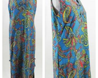 Vintage 1970s Hawaiian Dress -  Blue Sleeveless Boho Paisley  Maxi dress - Size Medium