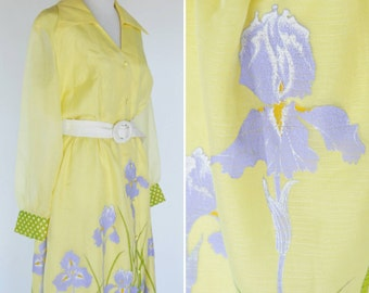 Vintage 1960's Yellow Maxi Summer Dress - Alfred Shaheen designer Dress - hand painted 60s Dress with purple flowers -size medium to small