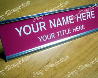 Custom Engraved Pink 2x8 Name Plate with Silver Desk Holder | Personalized Customized | Office Desk Sign