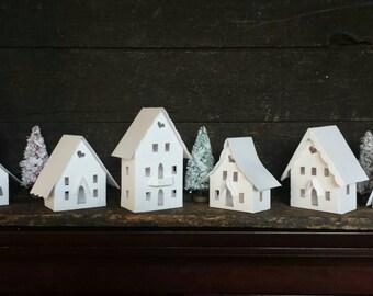 Stark White Decorate Your Own DIY Putz Little Glitter House Christmas Village / Handmade / Bottle Brush Trees