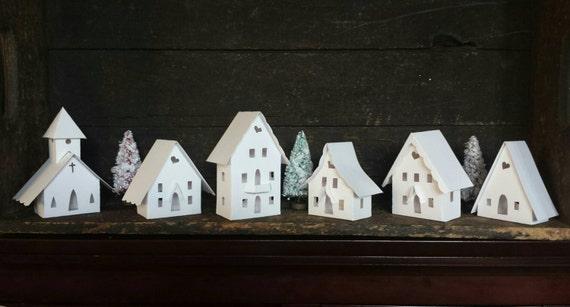 Stark white decorate your own diy putz little glitter house - Decorate your own house ...