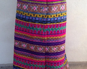 Vintage 70s quilted modern long skirt by Alex Colman sz M