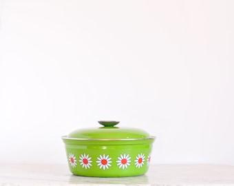 Vintage Enamel Daisy Pot Cathrineholm Style Mid Century Vintage Kitchen Enamelware Flower Power