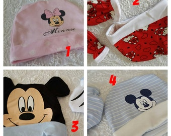 Newborn baby Girls Boys hats with mittens gloves set -fabric combo cotton  Baby Childs sun hat - newborn baby summer hat minnie mickey mouse