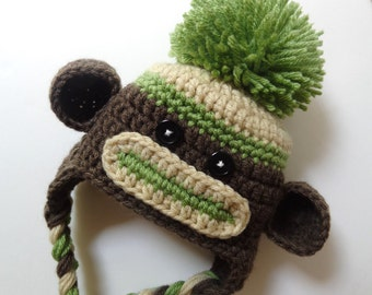Newborn Crochet Sock Monkey Hat, Knit Hat, Baby Boy Baby Girl, Brown, Green, Photo Prop