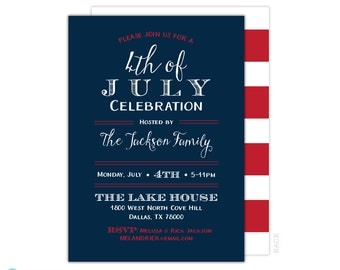 4th of July - 4th of July Invitation - Patriotic Invitation - 4th of july printable - Independence Day - BBQ invitation - Red White and Blue