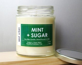 Soy Candle, Scented Jar, Home Decor, Gift, Container Candle, MINT + SUGAR