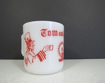 Vintage Hazel Atlas Christmas Mug // Tom and Jerry Red and White Punch Cup or Egg Nog Glass Replacement Piece Festive Holiday Serving