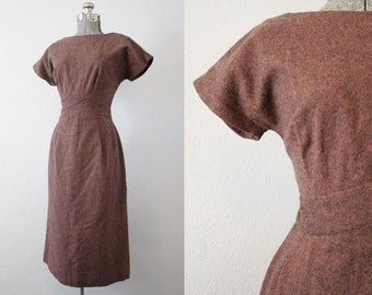 1950's Charles F Berg Brown Cocktail Dress / Size Medium Large