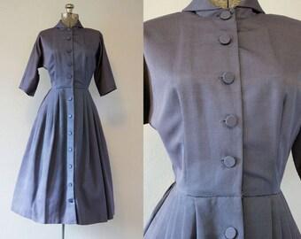 1950's Blue Taffeta New Look Dress / Size Medium