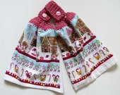 Gingerbread House Crochet Top Kitchen Hand Towel Set of 2