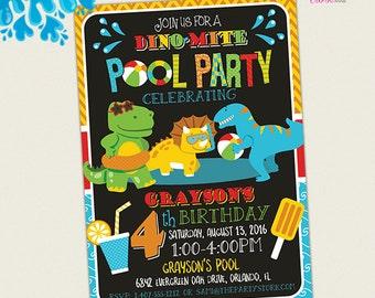 Dinosaur Pool Party Invitation, Dinosaur Birthday Party Invitation, Dino Pool Party Invitation, Printable Invitation