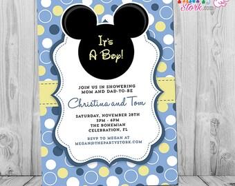 Baby mickey invite etsy mickey mouse baby shower invitation printable baby mickey boy invite pastel blue yellow white pronofoot35fo Choice Image