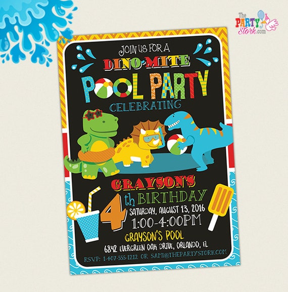 Dinosaur pool party invitation dinosaur birthday party invitation il570xn stopboris Images