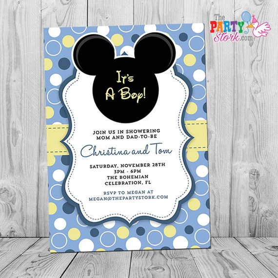 mickey mouse baby shower invitation  printable baby mickey boy, Baby shower invitations